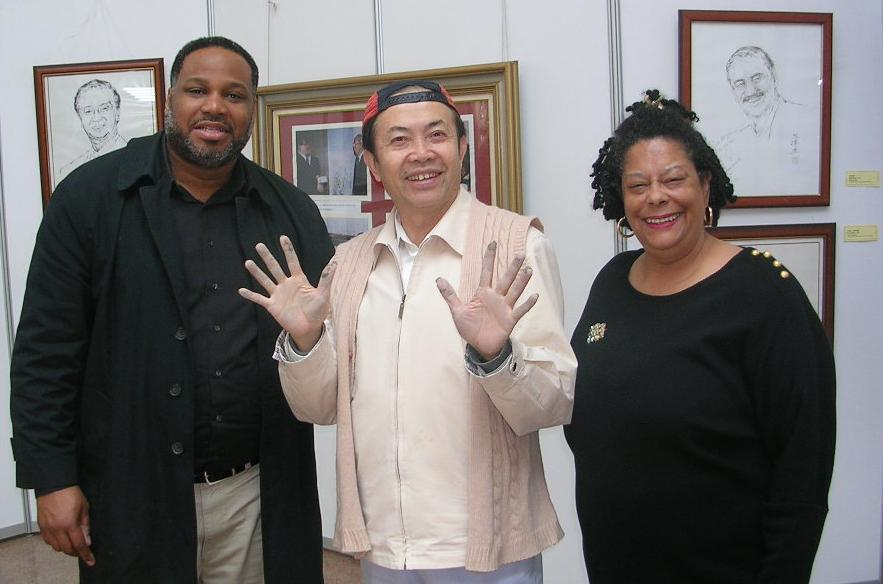 Carl Hill, renowned artist Xikun Yuan, and Joan Cartwright in Beijing, 2007